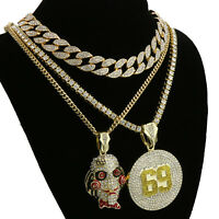 "Hip Hop Tekashi69 SAW 69 pendant 18""- 24"" Full Iced Cuban Choker Chain Necklace"