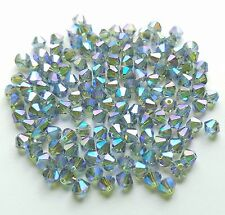 24 Swarovski 5301 4mm Indian Sapphire AB2X Bicone Crystal Beads