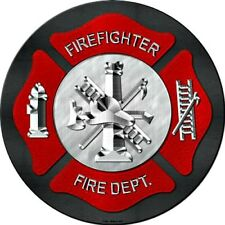 "Fire and Rescue Firefighter 12"" Round Metal Sign Novelty Fire Dept Fireman Decor"