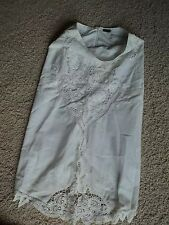 DESIGNER ROCCOBAROCCO WHITE BRANDENBURG CUT OUT LACE EMBROIDERED SKIRT XS SM