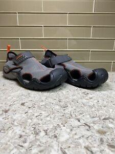 Crocs Mens Swiftwater 15041 Hook And Loop Mesh Gray Black Water Sandals Sz M 8