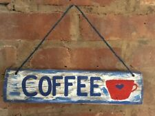 Rustic Hand Painted COFFEE Kitchen Recycled   Wood Sign with Jute Rope
