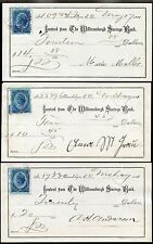 3 BANK RECEIPTS 1881 with REVENUE STAMPS