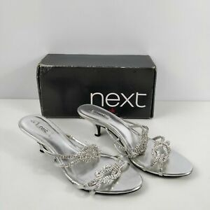 WOMENS NEXT SILVER DIAMANTE SLIP ON SANDALS HEELS SHOES UK 8 EU 42