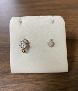 Lot of 2 Various 10K Yellow Gold Earrings J Hoop w/ Diamonds & Heart Opal