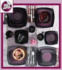 Set Dinnerware Square 16 Piece Dishes Plate Mug Modern Dinner Service Purple New