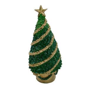 "5.75"" Polyresin Glittered Christmas Tree Figurine Decorative Gold Star & Garland"