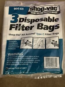 Shop Vac 5 Disposable Filter Bags Type C Model QAL80