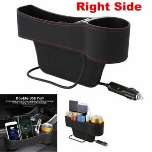 1x Right Side Car Accessories Seat Slit Pocket Storage Organizer Box w/2USB Port