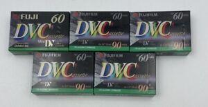 Lot of 5 NEW Fujifilm DVC Mini DV Digital Video Cassette Tape 60 min SP 90 LP