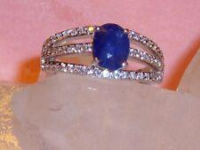 Saphir Zirconia Silber Ring vergoldet