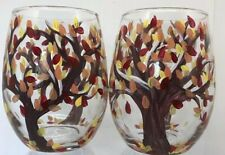 Set of 2 Hand Painted Wine Glasses Autumn Trees  - 16 oz Glass Red Yellow Orange