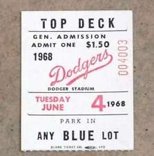 DON DRYSDALE DODGERS - 6 STRAIGHT SHUTOUTS TICKET - 1968 - TIES SCORELESS RECORD