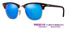 Authentic RayBan Clubmaster Flash RB3016 114517 Size51 Tortoise/Blue Flash $175