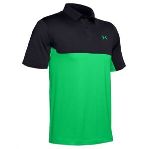 Under Armour Golf Performance 2.0 Colour Block Polo 1355485 Black & Green Medium