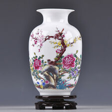 CHINESE COLORFUL PORCELAIN HAND PAINTED PEONY FLOWER BIRD FLUTE VASE CQ50217