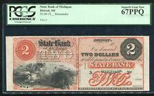 1800'S $2 STATE BANK OF MICHIGAN DETROIT, MI OBSOLETE REMAINDER PCGS UNC-67PPQ