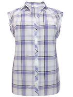 BPC ladies blouse shirt top plus size 20 purple check cotton cap sleeve