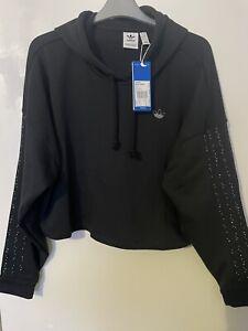 Adidas Crop hoodie Black size UK 16