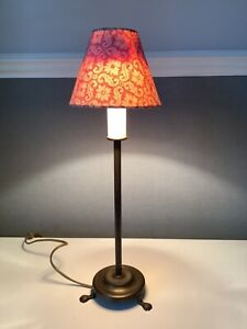 Laura Ashley Vintage Brass Table Lamp - Candle Stick Style Round Base - signed