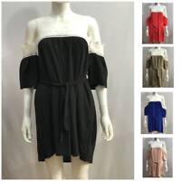 New Ladies Women Short Sleeves Cold Shoulder Top Knee Length Blouse Dress 1 Size