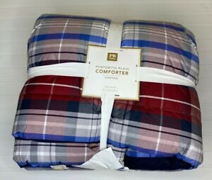 Pottery Barn Teen PORTSMITH PLAID COMFORTER Full Queen red + blue modern rustic