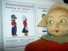 "THREE (3) LARGE labeled Norah Wellings 12 1/2"" cloth, DUTCH girl dolls, c1936"