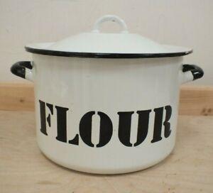 Vintage Large Made In Poland Black White Enamel Lidded Flour Bin Container (StM)