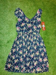 Bnwt New SIZE UK 14  UTTAM LONDON DRESS FLORAL NAVY SUMMER HOLIDAY H