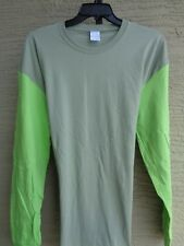 Unbranded Cotton  Two Tone Long Sleeve Crew Neck Tee Shirt 2X Sage/Lime