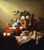 Stunning Oil painting still life spring flowers roses pot Watermelon no framed