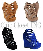 Women NEW Strappy Ankle Open Toe Summer Platform Wedge High Heel Sandal Shoes