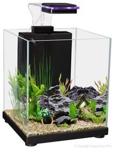 Aqua One Betta Fighter Fish Sanctuary Aquarium Fish Tank Black 10 Litre