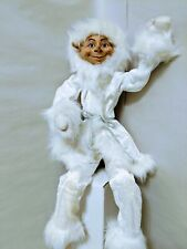"22"" Posable Elf White Coat And Faux Fur Holiday Christmas Elf Decor Great"