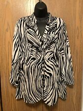 NY Collection Blouse Womens Plus Size 2X Long Sleeve Zebra Top Buttons Sheerness