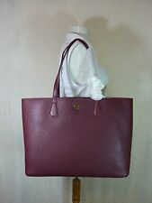 NWT Tory Burch Deep Berry/Tea Stain Pebbled Leather Perry Tote $395