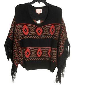 Anthropologie Skies Are Blue M Poncho Sweater Boho Fringe Woodstock Black Orange
