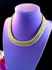 DAZZLING KENNETH LANE GLOSSY GOLD-TONE DIAMANTE EGYPTIAN WOVEN COLLAR NECKLACE