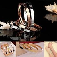 Women's Stainless Steel Screw Head Love Cuff Bangle Bracelet Wedding Party AE