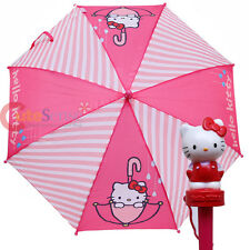 Sarino Hello Kitty Kids Umbrella - Pink Stripe Logo with Figure Handle