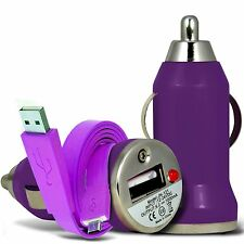 Purple Single Port USB Car Charger & Flat Data Cable For Samsung Galaxy J5