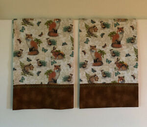 Fox Pillowcases Butterfly Two Handmade queen Cotton New animals brown