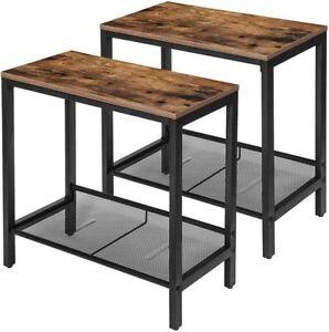 Set of 2 Side Table Nightstands End Table Stable Metal Storage Cabinet Bedroom