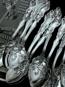 "🍓 MOSELLE AMERICAN SILVER ART NOUVEAU c.1906 FRUIT SPOON 6""- PRICE PER PC"