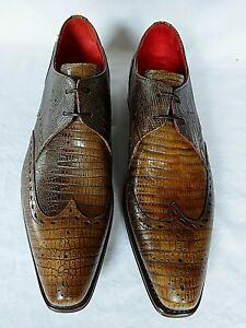 NEW JEFFERY WEST 2 Tone Tan Brown Lizard Print Leather SHOE UK 7 RRP £450 LUGOSI