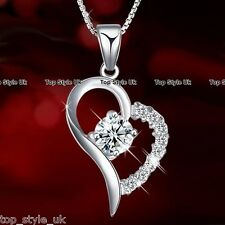 BLACK FRIDAY SALE Heart Silver Necklace Diamond Xmas Gifts for Her Girlfriend F1
