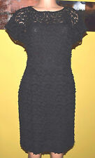 AKRIS BLACK LACE/NET CAP SLEEVES DRESS 8