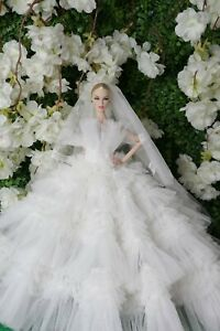 Handmade Wedding Evening  Gown Dress Outfit  For Silkstone Fashion Royalty