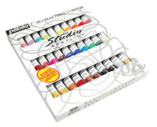 Pebeo Studio Acrylic Artist's Paint + 1 Brush Set of Assorted Colours 30 x 20ml