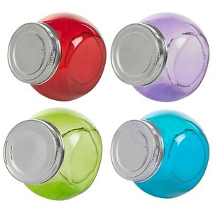 Decorative Coloured Glass Cookie Candy Jar Kitchen Container Metal Lid Set Of 4
